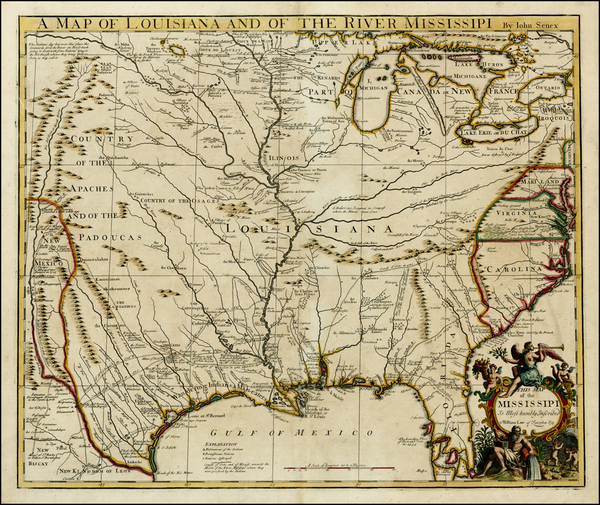 64-United States, South, Southeast, Texas, Midwest and Plains Map By John Senex