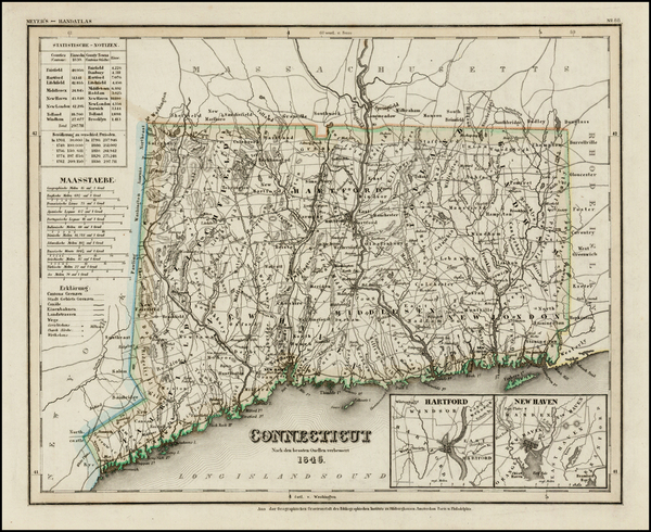 41-New England and Connecticut Map By Joseph Meyer