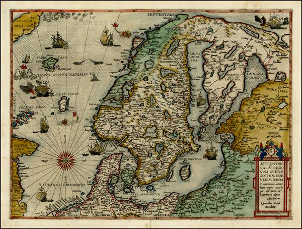 77-Atlantic Ocean, Russia, Baltic Countries and Scandinavia Map By Gerard de Jode