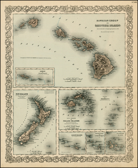 45-Hawaii, New Zealand, Hawaii and Other Pacific Islands Map By Joseph Hutchins Colton