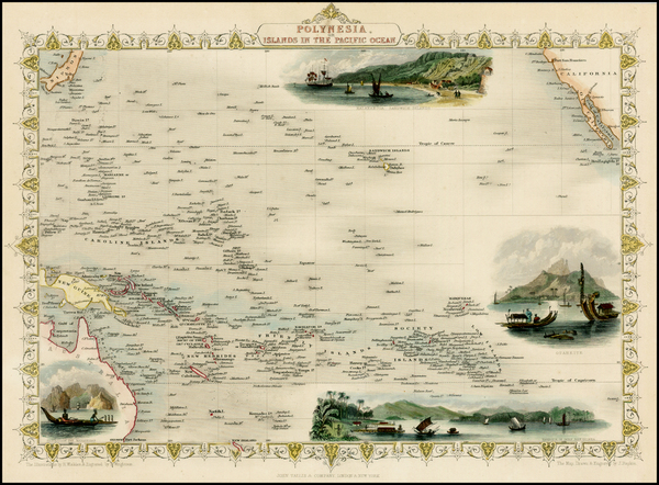 71-Pacific, Oceania, Hawaii and Other Pacific Islands Map By John Tallis