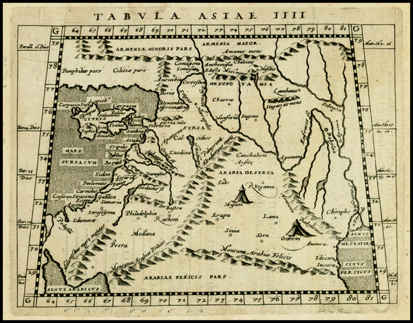 53-Other Islands, Middle East, Holy Land and Turkey & Asia Minor Map By Giovanni Antonio Magin