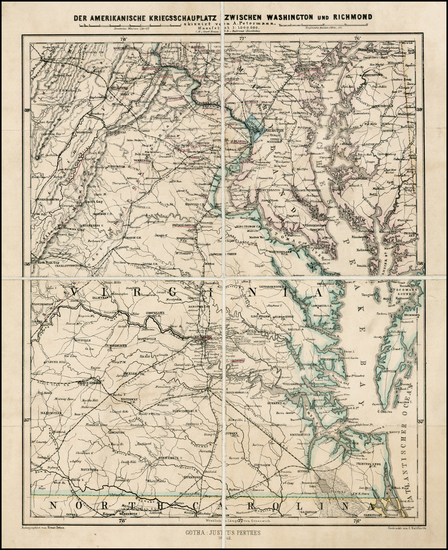 49-Mid-Atlantic, Maryland, Southeast, Virginia and Civil War Map By Augustus Herman Petermann