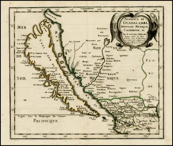 0-Southwest, Mexico, Baja California and California Map By Nicolas Sanson