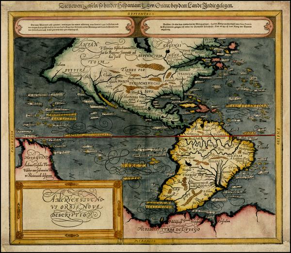 5-World, Western Hemisphere, South America and America Map By Sebastian Munster