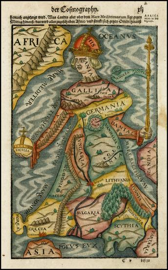 63-Europe, Europe, Curiosities and Comic & Anthropomorphic Map By Sebastian Munster