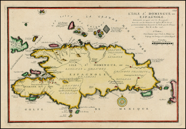 47-Caribbean and Hispaniola Map By Nicolas de Fer