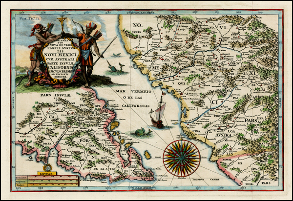 25-Mexico, Baja California and California Map By Heinrich Scherer