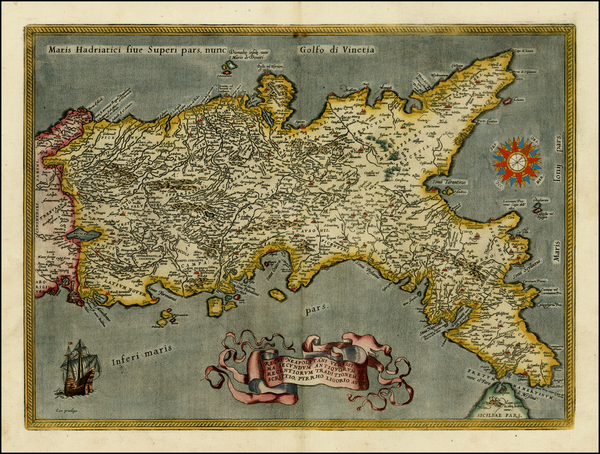 39-Italy Map By Abraham Ortelius