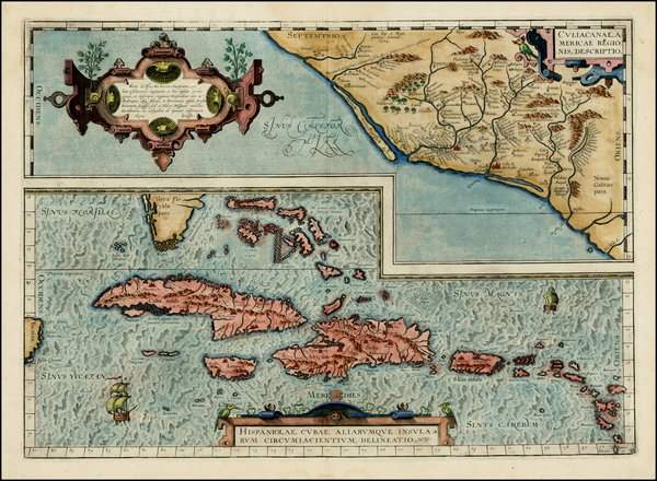 27-Southeast, Mexico and Caribbean Map By Abraham Ortelius