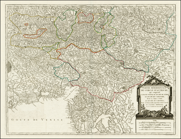 52-Austria, Balkans, Croatia & Slovenia and Italy Map By Gilles Robert de Vaugondy