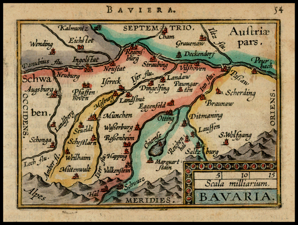 87-Germany Map By Abraham Ortelius / Johannes Baptista Vrients