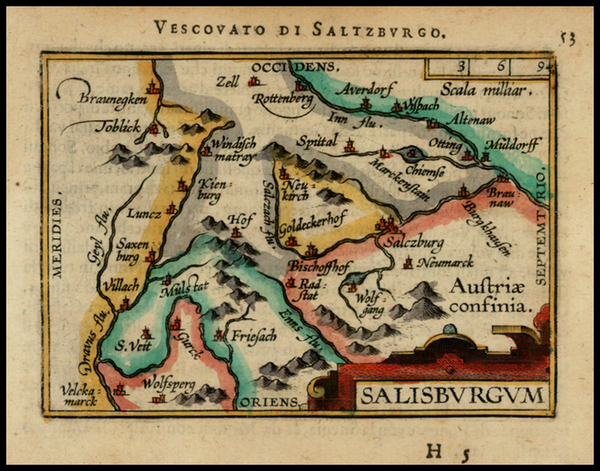 13-Austria Map By Abraham Ortelius / Johannes Baptista Vrients