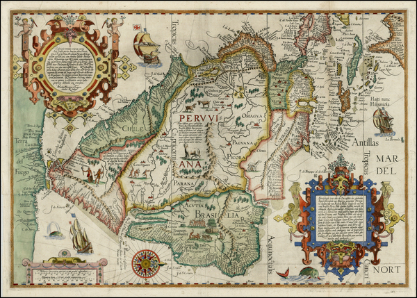 9-Polar Maps, Florida, South, Southeast, Caribbean, Central America, South America, Brazil and Am
