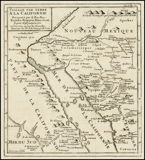 60-Southwest, Mexico, Baja California and California Map By Fr. Eusebio Kino / Inselin