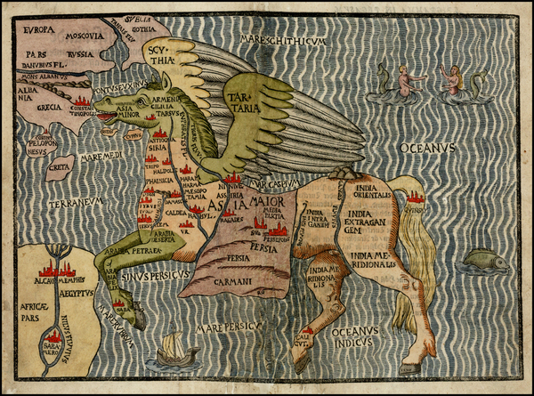 59-Asia, Asia, China, Southeast Asia, Curiosities and Comic & Anthropomorphic Map By Heinrich