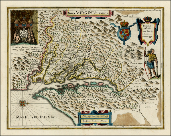 96-Mid-Atlantic and Southeast Map By Willem Janszoon Blaeu