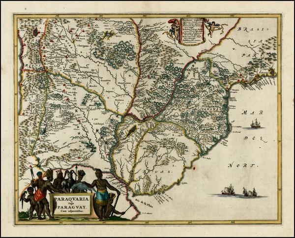 47-Brazil, Paraguay & Bolivia and Uruguay Map By John Ogilby