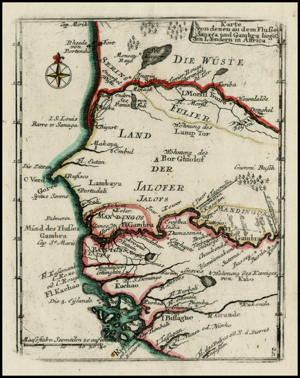 88-West Africa Map By Christian Friedrich von der Heiden