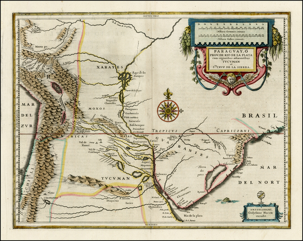 South America and Paraguay & Bolivia Map By Willem Janszoon Blaeu