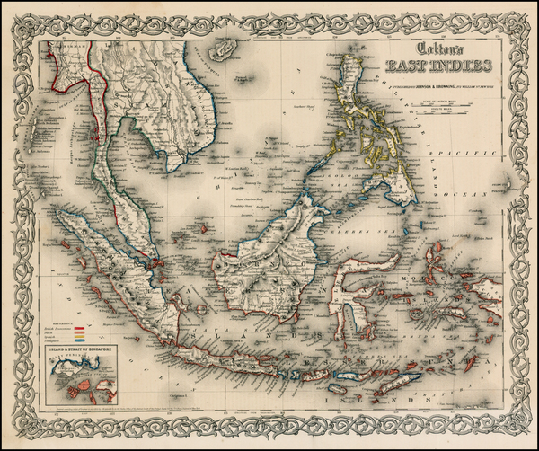 91-Southeast Asia, Philippines and Other Pacific Islands Map By Joseph Hutchins Colton
