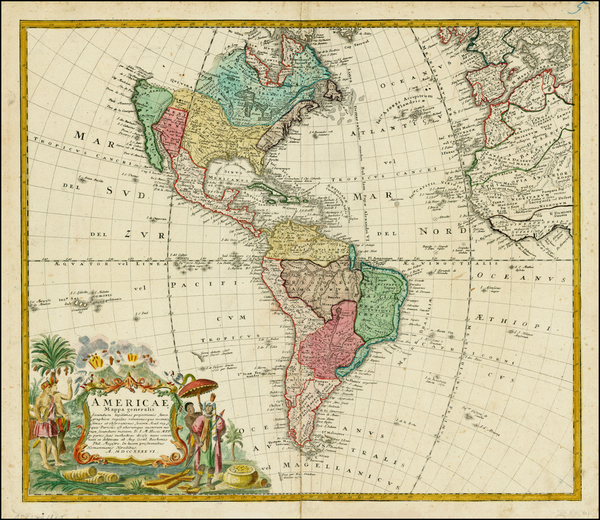 86-Western Hemisphere, South America and America Map By Homann Heirs / Johann Matthaus Haas