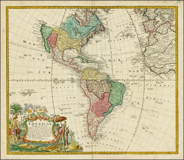 44-Western Hemisphere, South America and America Map By Homann Heirs / Johann Matthaus Haas