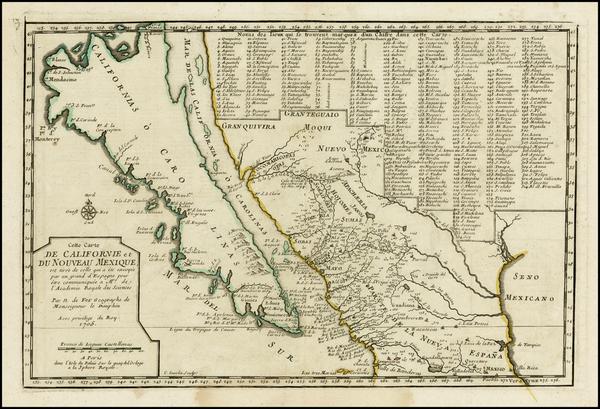 96-Baja California and California Map By Nicolas de Fer
