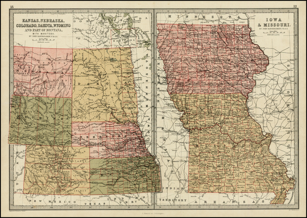 48-Midwest, Plains and Rocky Mountains Map By T. Ellwood Zell