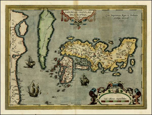 70-Japan and Korea Map By Abraham Ortelius