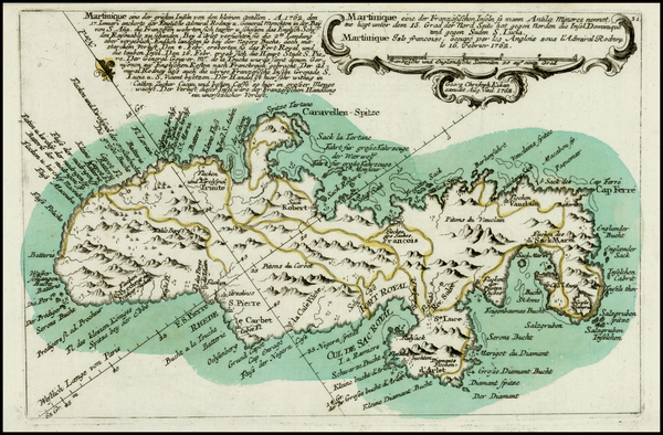 16-Martinique Map By Christian Friedrich von der Heiden