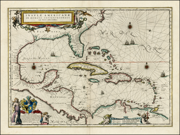 80-South, Southeast, Caribbean and Central America Map By Willem Janszoon Blaeu