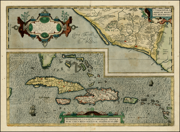 32-Southeast, Mexico and Caribbean Map By Abraham Ortelius