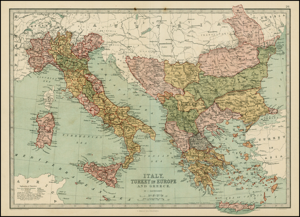 83-Italy, Greece, Turkey and Mediterranean Map By T. Ellwood Zell