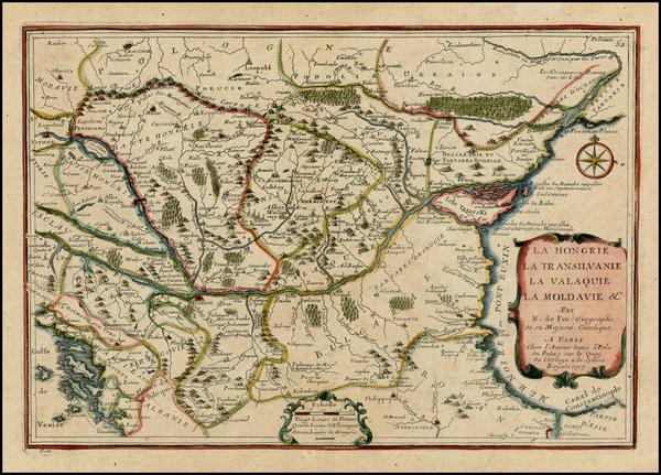 12-Austria, Poland, Ukraine, Hungary, Romania and Balkans Map By Nicolas de Fer