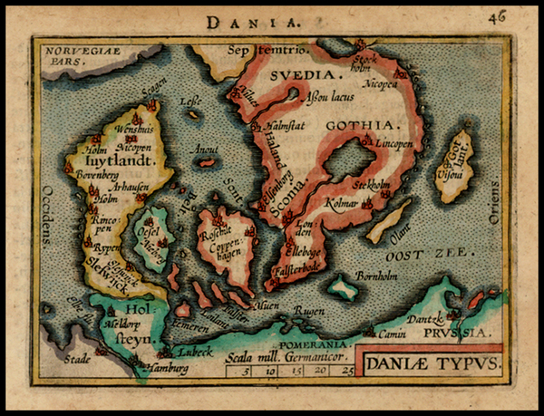 37-Scandinavia Map By Abraham Ortelius / Johannes Baptista Vrients