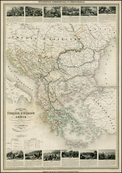 43-Austria, Balkans, Greece, Turkey and Balearic Islands Map By Alexandre Vuillemin