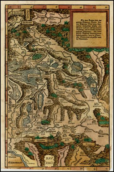 67-Switzerland Map By Johann Stumpf