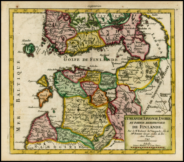 71-Baltic Countries and Scandinavia Map By Gilles Robert de Vaugondy