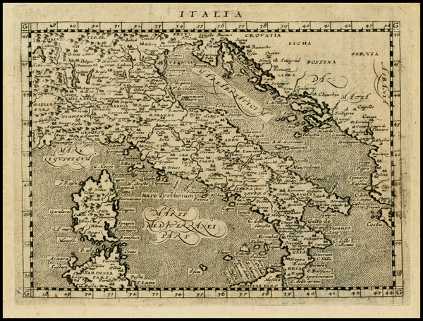 94-Italy and Balearic Islands Map By Giovanni Antonio Magini