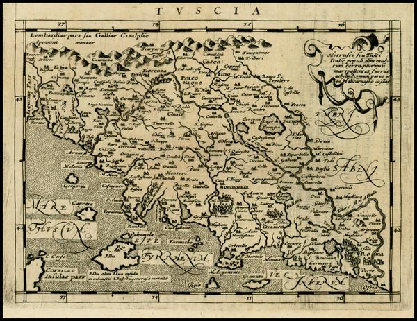 65-Italy Map By Giovanni Antonio Magini