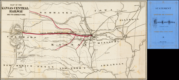 Midwest, Plains, Kansas, Southwest and Rocky Mountains Map By Kansas Central Railway