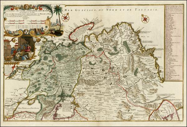 83-Russia, Ukraine, China and Russia in Asia Map By Nicolas de Fer