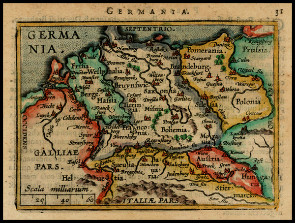 87-Netherlands, Germany, Austria, Poland and Czech Republic & Slovakia Map By Abraham Ortelius