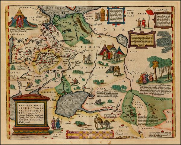 30-Russia, Ukraine, India, Central Asia & Caucasus and Russia in Asia Map By Abraham Ortelius