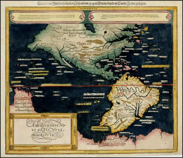 36-Western Hemisphere, South America and America Map By Sebastian Munster