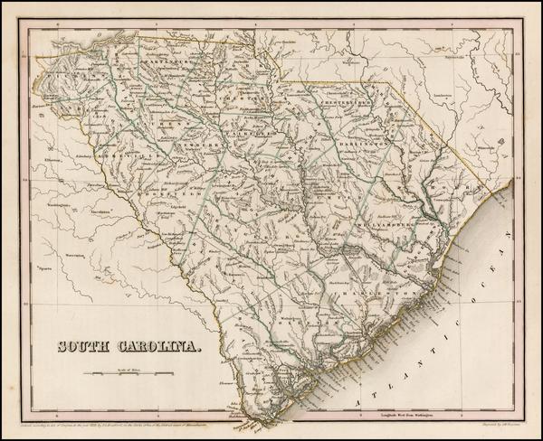 37-Southeast and South Carolina Map By Thomas Gamaliel Bradford