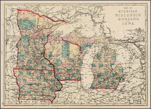 92-Midwest, Michigan, Minnesota, Wisconsin and Iowa Map By J. David Williams