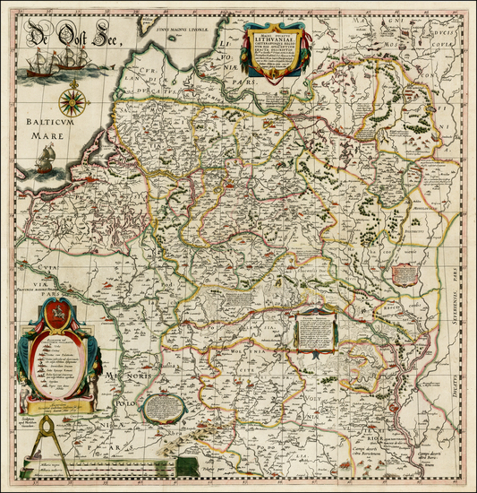 0-Poland, Russia, Ukraine and Baltic Countries Map By Willem Janszoon Blaeu / Hessel Gerritsz
