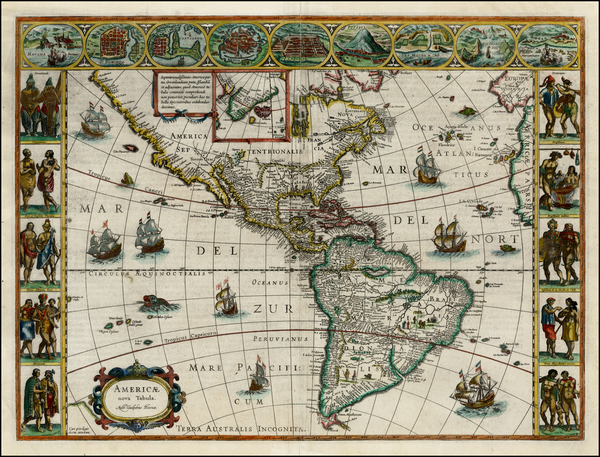 98-Western Hemisphere, North America, South America and America Map By Willem Janszoon Blaeu